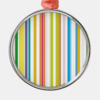 Multi Coloured Stripes Silver-Colored Round Decoration