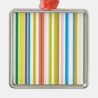 Multi Coloured Stripes Silver-Colored Square Decoration