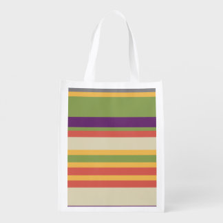 Multi-coloured stripes Three Reusable Grocery Bag