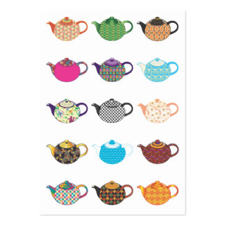 Multi-coloured Tea Kettles Business Card Template