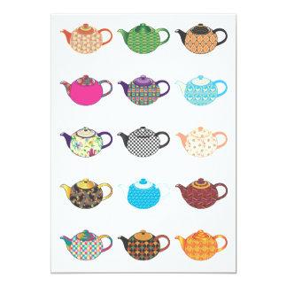 Multi-coloured Tea Kettles Card