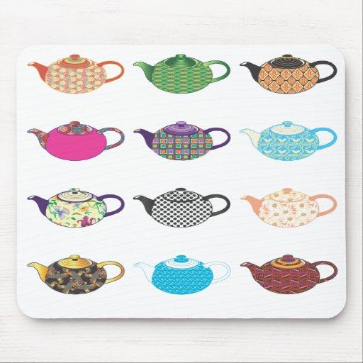 Multi-coloured Tea Kettles Mouse Pad
