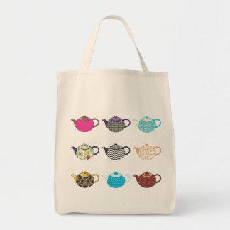 Multi-coloured Tea Kettles Tote Bags