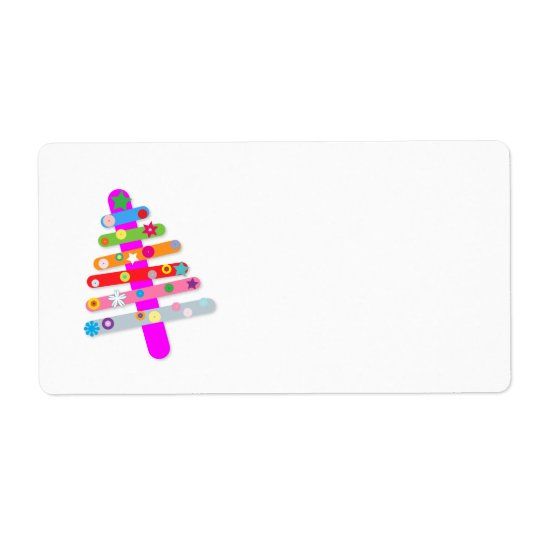 Multi-coloured Tree Shipping Label