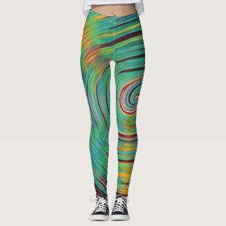 Multi coloured vortex leggings