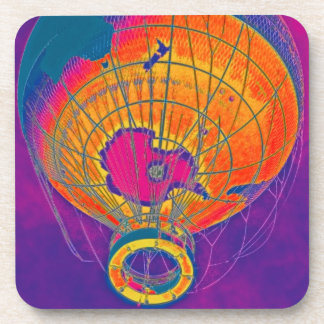 Multi-coloured World Globe Balloon, Purple Sky Drink Coaster