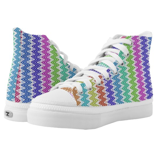 Multi Coloured Zigzag Aztec Inspired High Tops