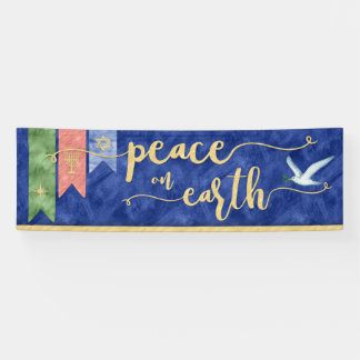 Multi-Denominational Watercolor Peace on Earth Banner