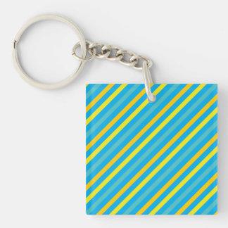 Multi Diagonal Stripe Blue Design Single-Sided Square Acrylic Keychain