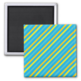 Multi Diagonal Stripe Blue Design Square Magnet