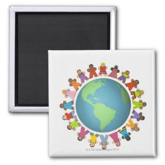 Multi ethnic figurines encircle the globe magnet