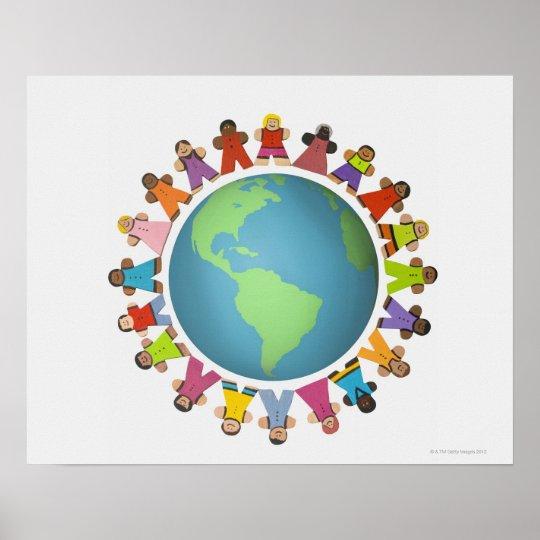 Multi ethnic figurines encircle the globe poster