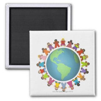 Multi ethnic figurines encircle the globe square magnet