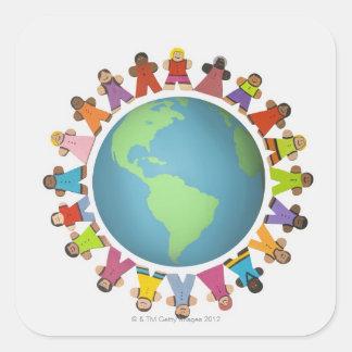 Multi ethnic figurines encircle the globe square sticker