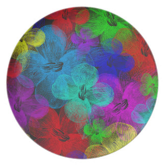 Multi-Flowered Melamine Plate by Julie Everhart