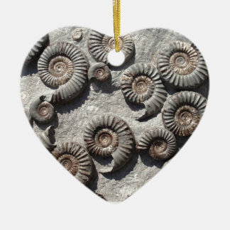 Multi fossil ammonites from the Lower Lias Ceramic Heart Decoration