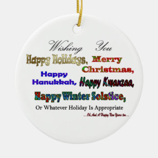 Multi Holiday greeting Christmas Ornament