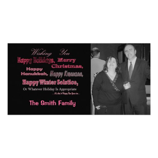Multi Holiday Red on Black Personalized Photo Card