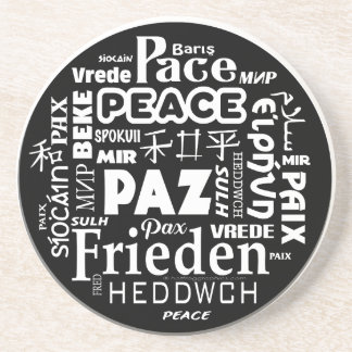 Multi language peace mandala design drink coasters