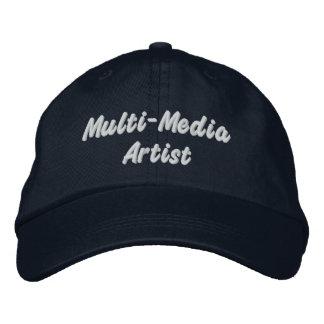 Multi-media artists embroidered baseball caps