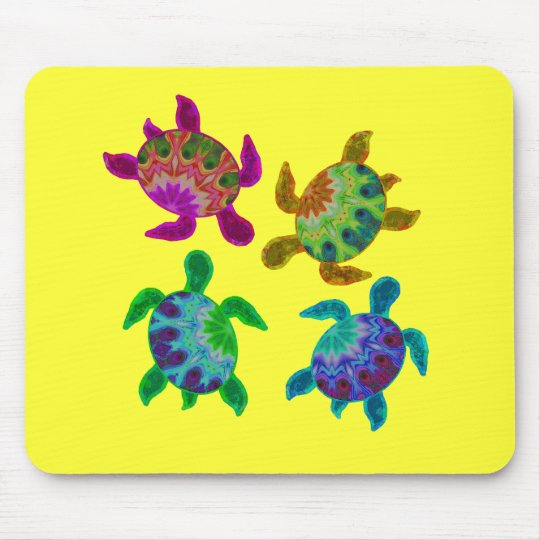 Multi Painted Turtles Mousepad