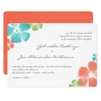 Multi Papaya Watercolor Flowers Wedding Invite