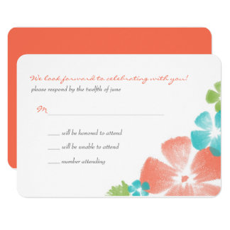 Multi Papaya Watercolor Flowers Wedding RSVP Card