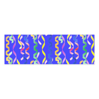 Multi Party Streamers on Neon Blue Pack Of Skinny Business Cards