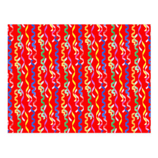 Multi Party Streamers on Neon Red Postcard