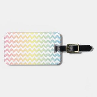Multi Pastel Chevron Pattern Luggage Tag