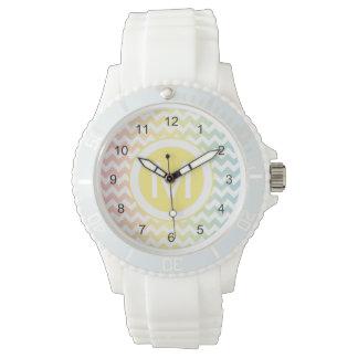 Multi Pastel Chevron Pattern Watch