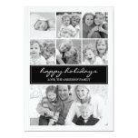 Multi Photo Collage Holiday Photocard - Black 5x7 Paper Invitation Card