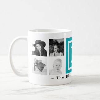 Multi Photo Personalized Monogram Bright Blue Basic White Mug