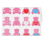 multi pink teddybear pattern, cute girly kids baby greeting cards