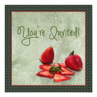 """Multi-Purpose Invitation - Strawberries 5.25"""" Square Invitation Card"""