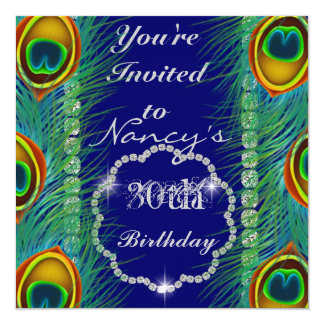 MULTI PURPOSE PEACOCK FEATHERS BLING Invitation
