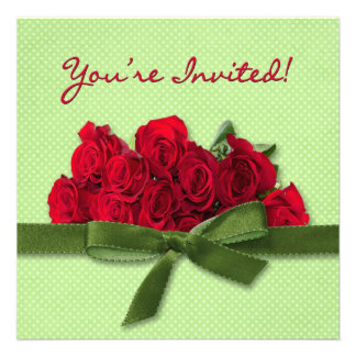 MULTI-PURPOSE RED ROSES INVITATION PERSONALIZED ANNOUNCEMENT