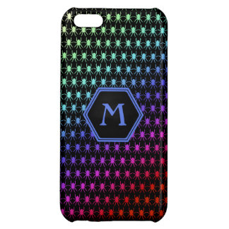Multi rainbow spiders monogram on black iPhone 5C cover