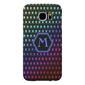 Multi rainbow spiders monogram on black samsung galaxy s6 cases