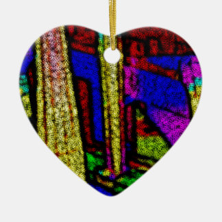 Multi Sensation Color Columns. Ceramic Heart Decoration