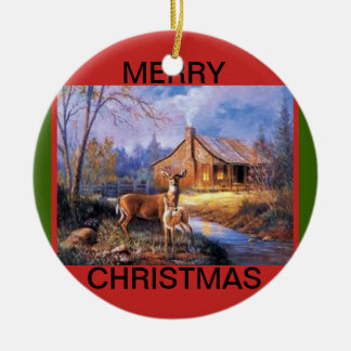 Multi Sided Deer Scenes Christmas Ornament