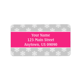 Multi Snowflakes Address Labels (Hot Pink/Silver)