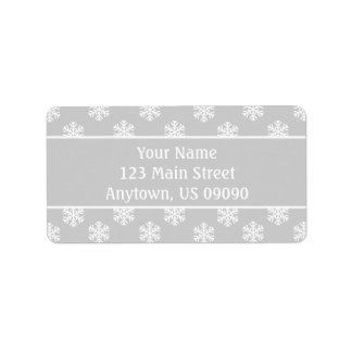 Multi Snowflakes Address Labels (Silver / Silver)