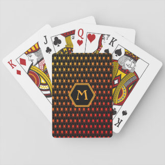 Multi spiders fiery on black Monogram Playing Cards