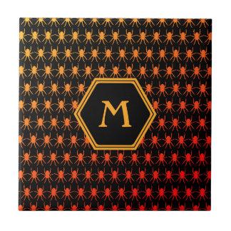 Multi spiders fiery on black Monogram Tile