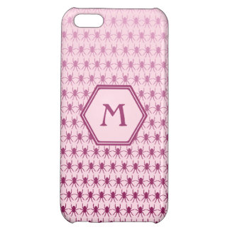 Multi spiders pink on pink monogram cover for iPhone 5C