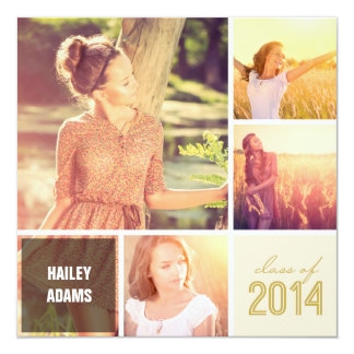 Multi Squares Simple Graduation Photo Party Invite