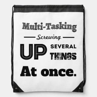 Multi Tasking Definition Drawstring Backpacks