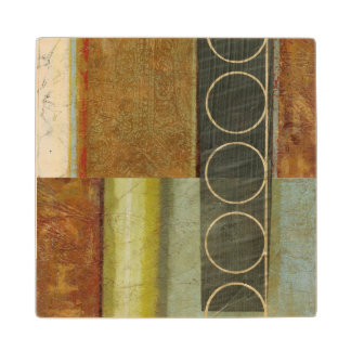 Multi-textured Abstract Painting by Vision Studio Wood Coaster