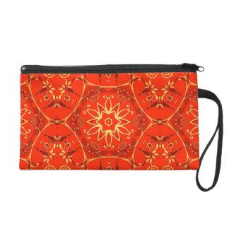 multi tone red & yellow geometric floral wristlet purse